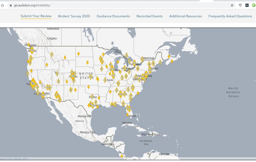 Map of North America showing yellow diamonds to mark birding locations.