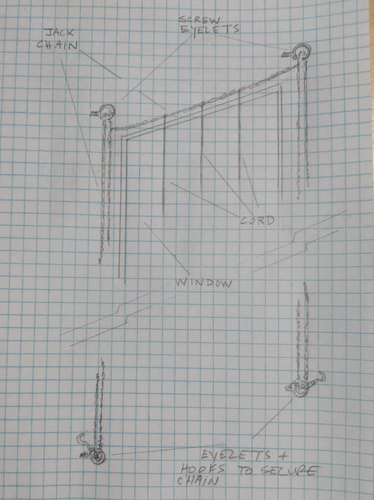 Graph paper with hand-drawn images of plans for a system to raise and lower a set of cords that will hange from the top of a window.