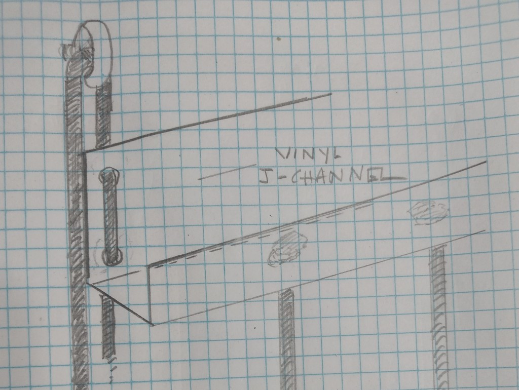 Graph paper with hand-drawn plans for J-challe that can be lifted and lowered using another set of cords and eyelets in the wall.